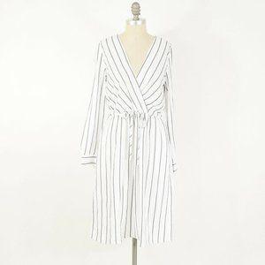 Ann Taylor White Striped Gauze Wrap Dress